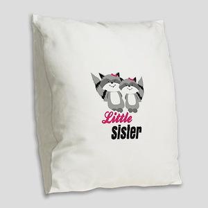 Raccoons Little Sister Burlap Throw Pillow