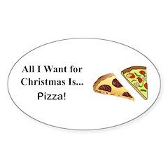 Christmas Pizza Sticker (Oval)