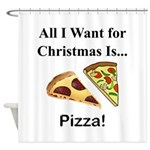 Christmas Pizza Shower Curtain