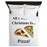 Christmas Pizza Queen Duvet
