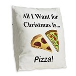 Christmas Pizza Burlap Throw Pillow