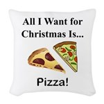 Christmas Pizza Woven Throw Pillow