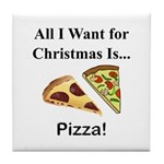 Christmas Pizza Tile Coaster