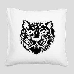 Leopard Face Silhouette Square Canvas Pillow
