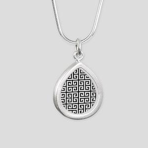 Classy Greek Key black Silver Teardrop Necklace