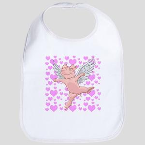 Flying Pig and Pink Hearts Bib