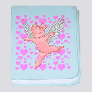Flying Pig and Pink Hearts baby blanket