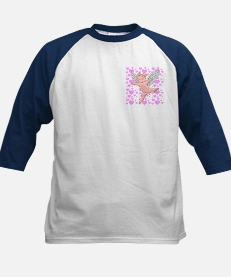 Flying Pig And Pink Hearts Kids Baseball Jersey