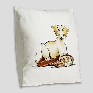 Cream Saluki Lester Burlap Throw Pillow