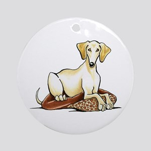 Cream Saluki Lester Ornament (Round)