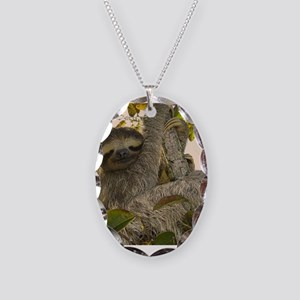 Sloth Necklace Oval Charm