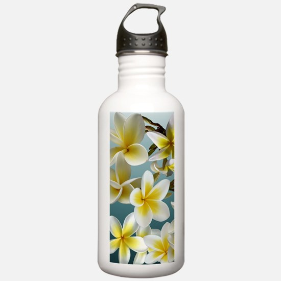 Plumeria on Blue Water Bottle