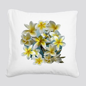Plumeria on Blue Square Canvas Pillow