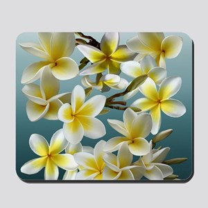 Plumeria on Blue Mousepad