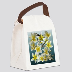 Plumeria on Blue Canvas Lunch Bag