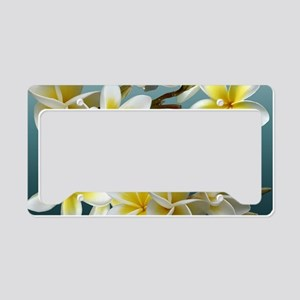 Plumeria on Blue License Plate Holder