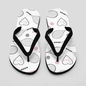 Elegant Tennis Love Pattern Grey and Pink Flip Flo