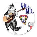 Guitar Mick Round Car Magnet