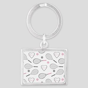 Elegant Tennis Love Pattern Grey and Pink Keychain