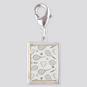 Elegant Tennis Love Pattern Grey and Pink Charms