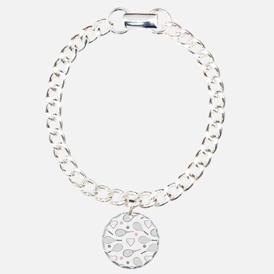 Elegant Tennis Love Pattern Grey and Pink Bracelet