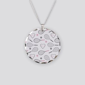 Elegant Tennis Love Pattern Grey and Pink Necklace
