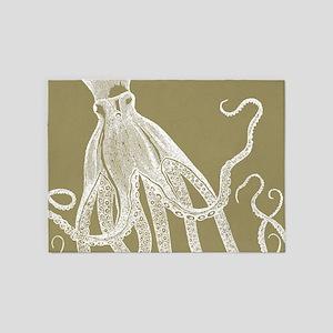 Vintage Octopus Design in Rustic Mustard Color 5'x
