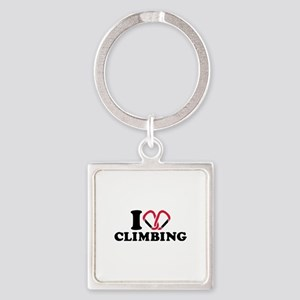 I love Climbing carabiner Square Keychain