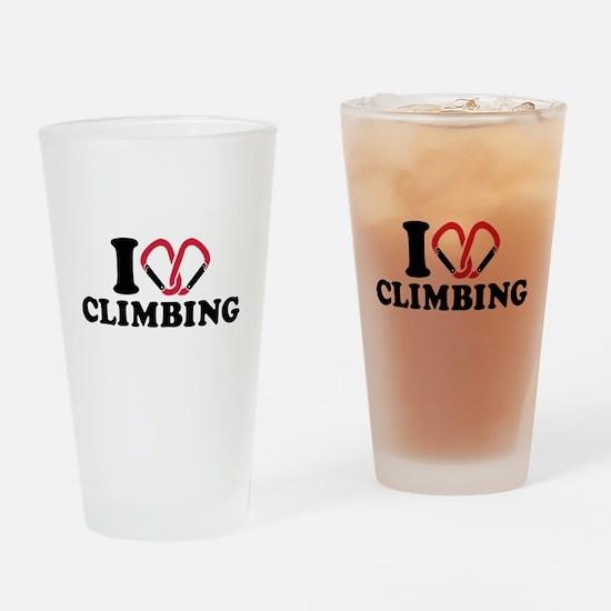 I love Climbing carabiner Drinking Glass