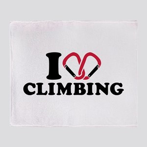 I love Climbing carabiner Throw Blanket