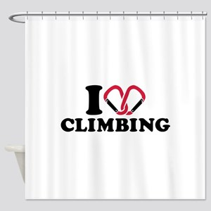 I love Climbing carabiner Shower Curtain