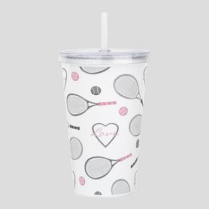 Elegant Tennis Love Pattern Grey and Pink Acrylic