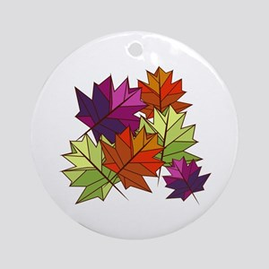 Colorful Leaves Ornament (Round)