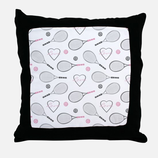Elegant Tennis Love Pattern Grey and Pink Throw Pi