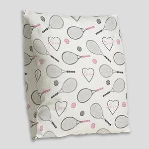 Elegant Tennis Love Pattern Grey and Pink Burlap T
