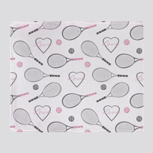 Elegant Tennis Love Pattern Grey and Pink Throw Bl