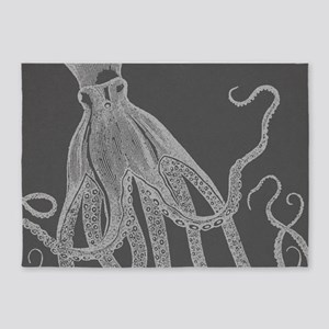 Vintage Octopus Shower Curtain in Grey 5'x7'Area R