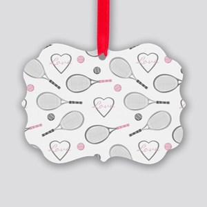 Elegant Tennis Love Pattern Grey and Pink Ornament