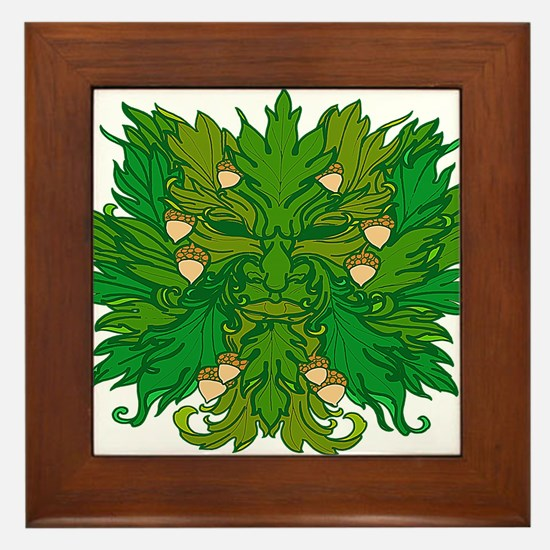 Green Man Framed Tile