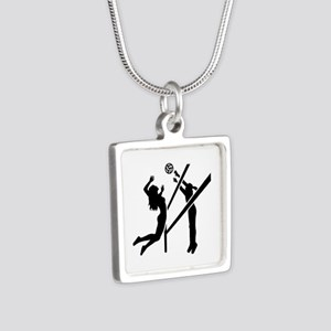 Volleyball girls Silver Square Necklace