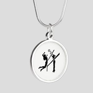 Volleyball girls Silver Round Necklace