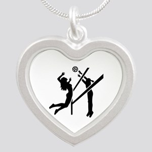 Volleyball girls Silver Heart Necklace