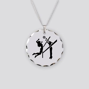 Volleyball girls Necklace Circle Charm