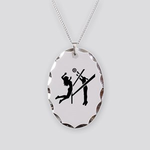 Volleyball girls Necklace Oval Charm