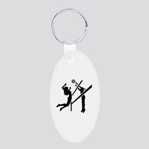 Volleyball girls Aluminum Oval Keychain