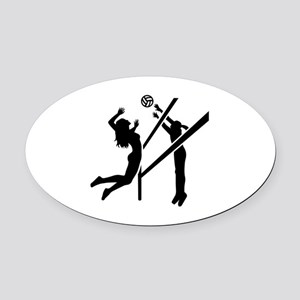 Volleyball girls Oval Car Magnet