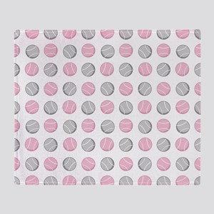 Cute Tennis Ball Pattern Grey and Pi Throw Blanket