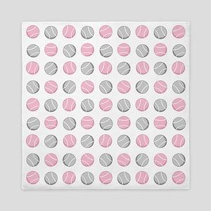 Cute Tennis Ball Pattern Grey and Pink Queen Duvet