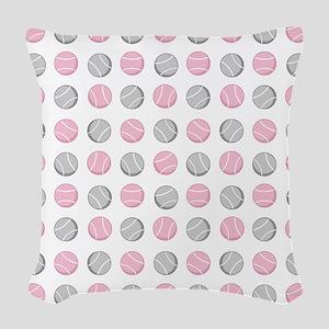 Cute Tennis Ball Pattern Grey Woven Throw Pillow