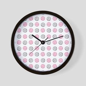 Cute Tennis Ball Pattern Grey and Pink. Wall Clock